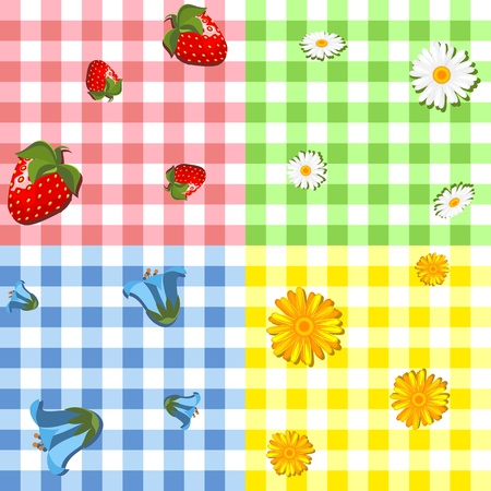 calendula flower: collection of four seamless pattern - red with strawberries, green with chamomiles, blue with bluebell and yellow with marigold