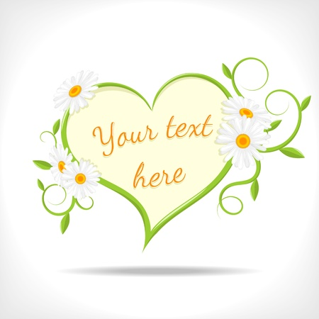 floral background - heart with green twigs and camomile on white background - vector illustration Vector