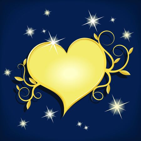 shinny: decorative golden heart on dark night sky with stars - vector illustration