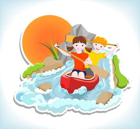 rapid: girl and boy go down the river on a canoe
