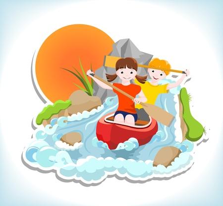 los niños y niñas van por el río en una canoa Ilustración de vector
