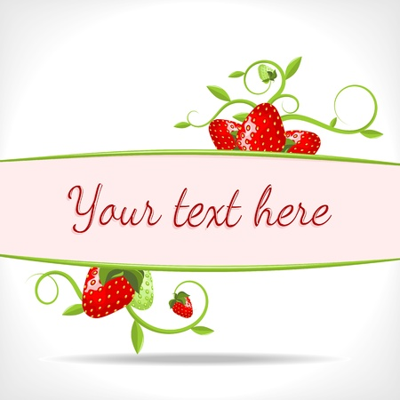 tendrils: herbal background - banner with green twigs and strawberries - vector illustration