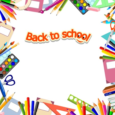 briefpapier: Hintergrund mit Schreibwaren und Text wieder in die Schule