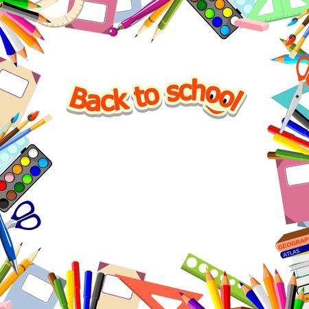 papeteria: tło papeterii i tekst z powrotem do szkoły