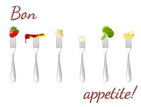 appetite: forks with pieces of food - strawberry, cheese,pasta, chips, mushroom and broccoli