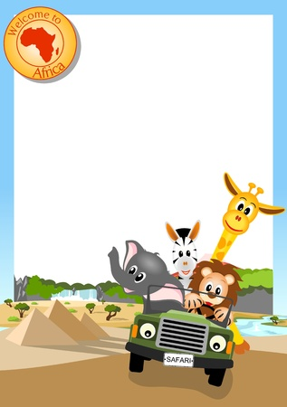 giraffe, elephant, zebra and lion driving green car through african landscape, white background