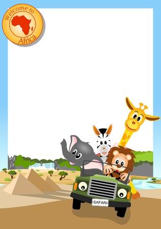 jirafa, el elefante, la cebra y el león de conducir el coche de color verde a través del paisaje africano, fondo blanco