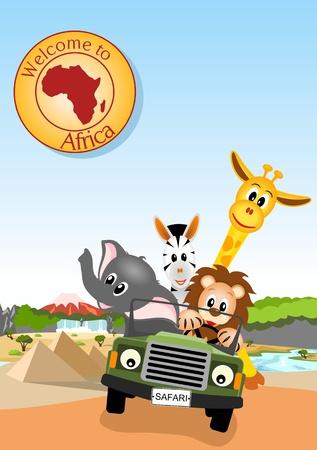 giraffe, elephant, zebra and lion driving green car through african landscape  Illustration