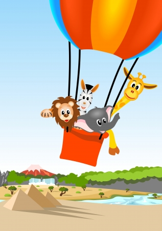 lion, giraffe, zebra and elephant in the colorful hot air balloon over african landscape
