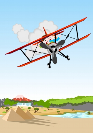 boy and girl flying in a red biplane over african landscape  Illustration