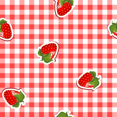 seamless pattern with red and white canvas and strawberries  Illustration