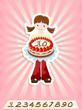 girl with strawberry birthday cake, numbers can be replaced Stock Vector - 13821427
