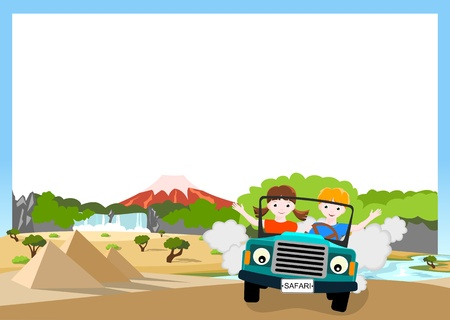 children traveling in car in african landscape Illustration
