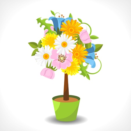 abstract flower tree in the pot illustration Vector