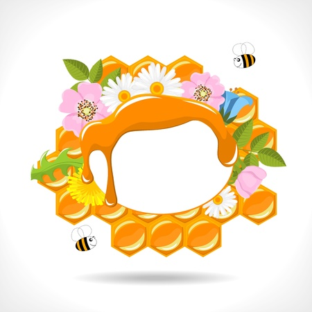 background with honeycomb, honey, flowers and two cartoon bees illustration Vector