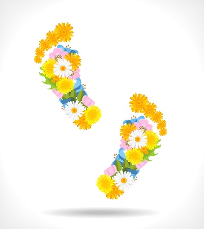 abstract footprints composed from spring flowers on white background illustration