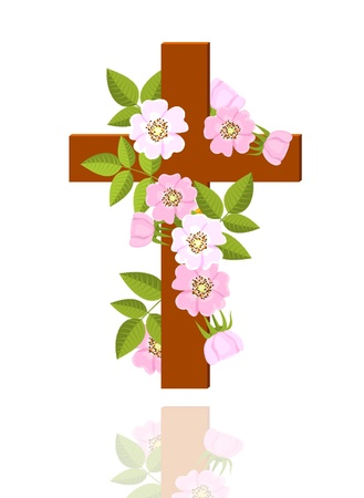 cross with flowers of wild rose on white background