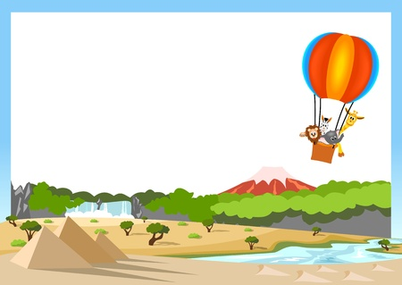 lion, giraffe, zebra and elephant in the colorful hot air balloon on white background
