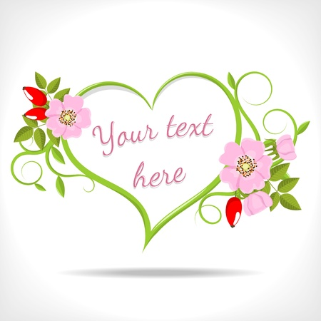 floral heart with green twigs and wild rose on white background  Vector