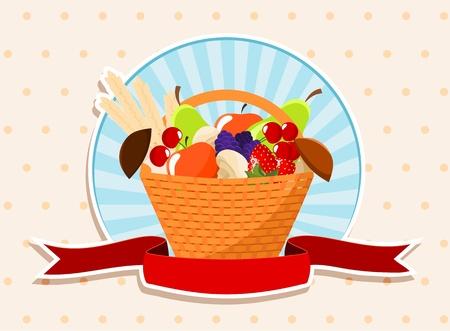 basket with summer fruits - apples, pears, mushrooms, strawberries, blackberries, cherries  and wheat Stock Vector - 13974147