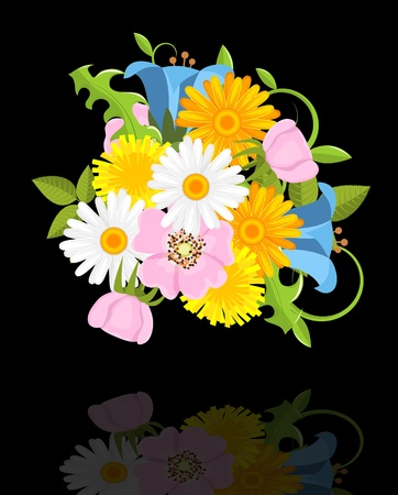 various spring flowers  on black background with reflection Stock Vector - 13974193