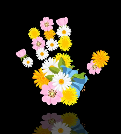 spring flowers in shape of hand on black background with reflection Stock Vector - 13974285
