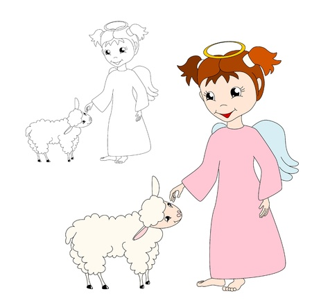 fondle: cute cartoon  angel caresses a lamb, on white background - kid illustration Illustration