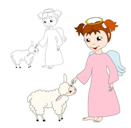 caresses: cute cartoon  angel caresses a lamb, on white background - kid illustration Illustration