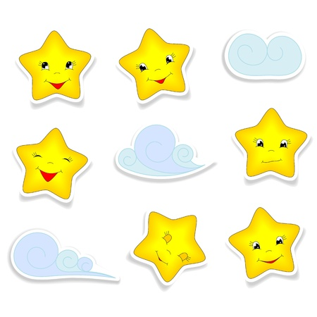 cartoon stars: cartoon stars with different smiles,  and clouds - kid illustration
