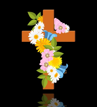 cross with flowers of wild rose on black background illustration Stock Vector - 14004409