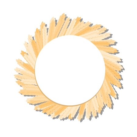 wreath of wheat: corn circle with copy space on white background illustration