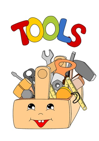 cartoon tools in a toolbox on white background - kid illustration Illustration