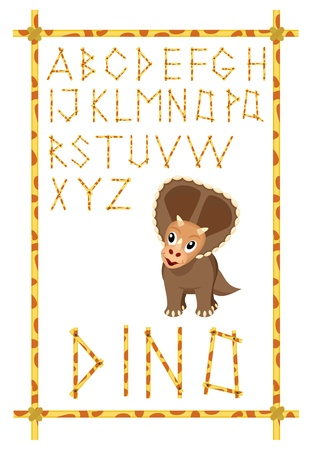 dino alphabet with brown triceratops  Vector