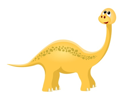 paleontological: yellow diplodocus, brachiosaurus, apatosaurus on white background - illustration