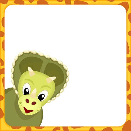 saurian: head of triceratops in yellow frame with spots and white empty background - kid illustration