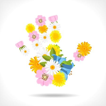 spring flowers in shape of hand on white background - illustration Stock Vector - 14180749