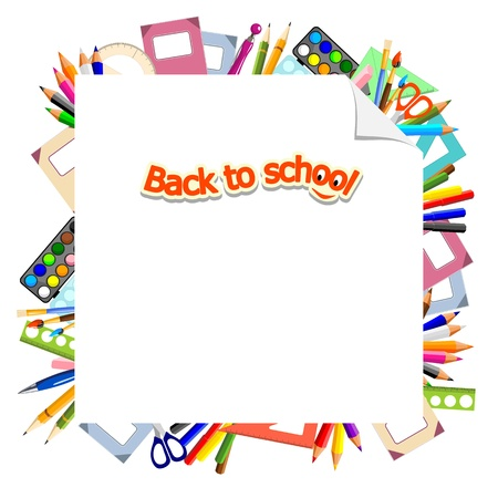 background with stationery and text  back to school  Stock Vector - 14180746