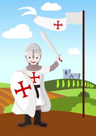 edad media: niño vestido con armadura, escudo, espada y una bandera roja - ilustración