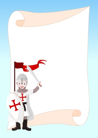 iron cross: background with boy dressed in armor, with shield, sword and a red flag - illustration