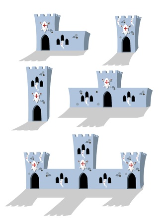 fortification: collection of cartoon medieval castles on white background -  illustration Illustration
