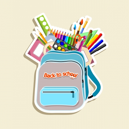 school things: schoolbag with stationery - illustration Illustration