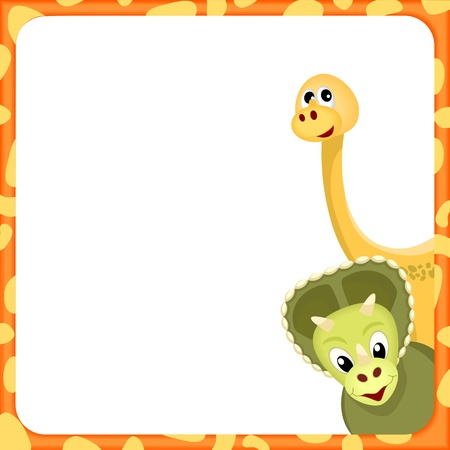 prehistoric: triceratops ans brachiosaurus  in orange frame with spots and white empty background - kid illustration