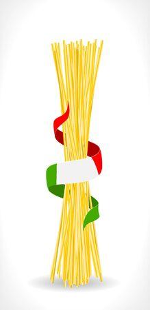 raw spaghetti with italian flag - illustration