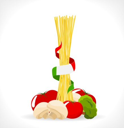 spaghetti: raw spaghetti with mushrooms, tomatoes and broccoli -illustration