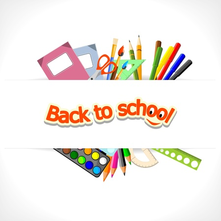 background with stationery and text  back to school  Vector