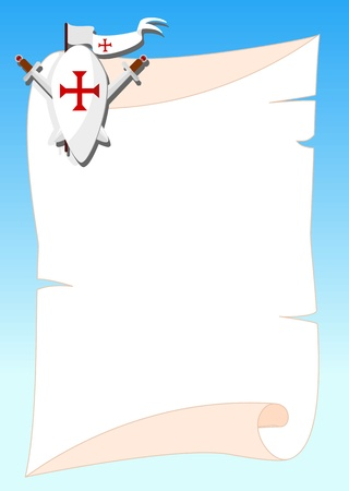 background  with shield, sword and a flag with templar red cross -illustration Illustration