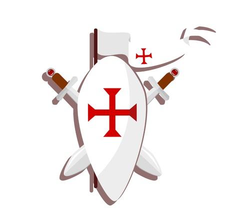 영광: 기사단 기호 - 흰색 배경에 빨간 십자가, 칼과 흰색 깃발과 방패 - 그림