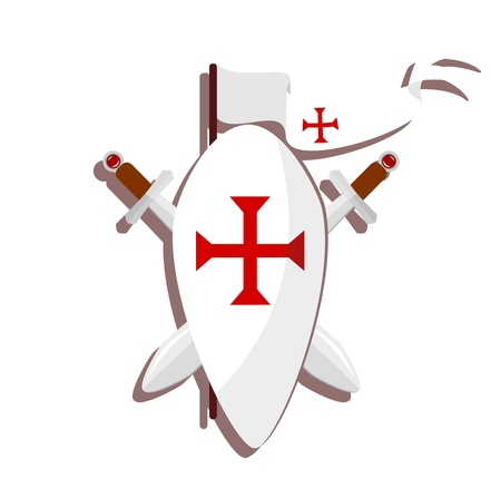 white background illustration: templar sign - shield with red cross, swords and white flag on white background - illustration