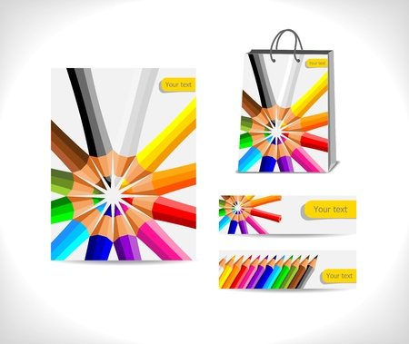 shopping bag and two banners  decorated with circle from colorful crayons - illustration Stock Vector - 14180854