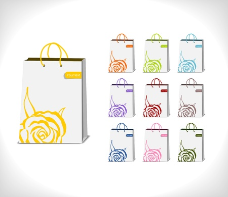 shopping bags decorated with abstract rose in various colorful variations - illustration Stock Vector - 14180880